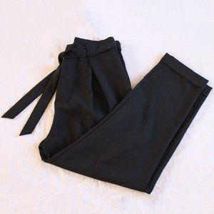 Black slacks with tie waist.